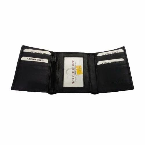 men tri folder leather wallet चमड क क र ड ट
