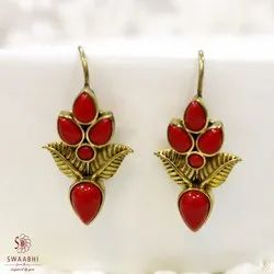 Hanging Brass Red Stone Earrings, Size: 1.5 Inch