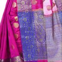 Magenta Cotton Blend Resham Zari Work Banarasi Saree