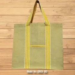 Jute Shopping Bag with Colored Tape Handle