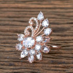 Rose Gold Plated CZ Classic Ring 405749