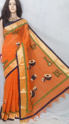 e643f7db5d Orange Cotton Applique Work Summer Sarees Collection