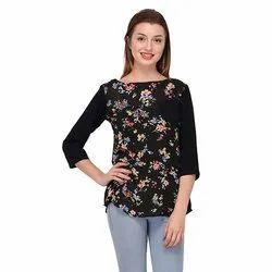 Black Floral Print Designer Top