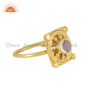 Ethiopian Opal Gemstone Designer Gold Plated 925 Silver Ring Jewelry