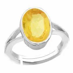 Pukhraj Ring Men and Women Silver Gemstone