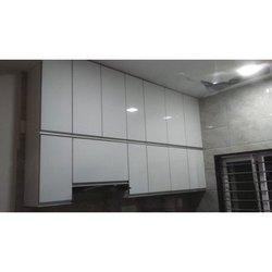 Wooden White Rectangular Modular Kitchen Cabinets