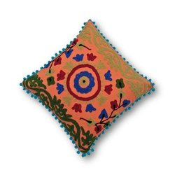 Suzani Embroidered Pom Pom Cushion Cover