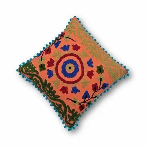 Marvelous Suzani Embroidered Pom Pom Cushion Cover Suzani Frankydiablos Diy Chair Ideas Frankydiabloscom