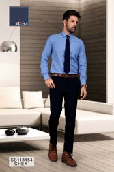 Blue Chex Formal Uniform Unstitched Combo for Corporate Office