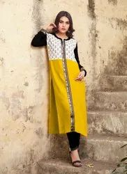 Woman Stitched Ladies Rayon Designer Kurtis