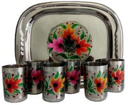 Flower Look Glass Tray Set