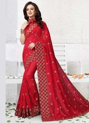 Kesari Exports Red Embroidered Wedding Wear Designer Sarees with Blouse