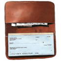 Brown Leather Check Book Wallet