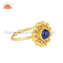 Natural Lapis Lazuli Gemstone 18k Gold Plated 925 Silver Ring Jewelry
