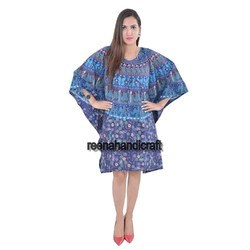 Indian Blue Elephant Kaftan Mandala Women Dress Caftan