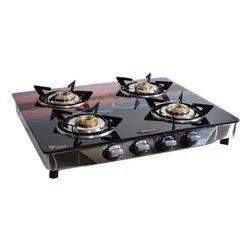 Ss 4 Burner Designer Gas Stove, Packaging Type: Box, For Kitchen