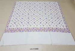 Natural White Pashmina Hand Embroidered All Over Paisley Shawls