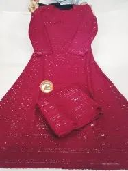 Cotton Maroon Chikan Anarkali With Bottom, Machine wash