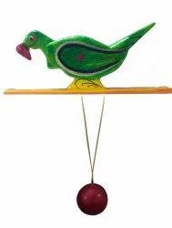 Handicraft Handmade Wooden Toys for Kids Parrot (Green)