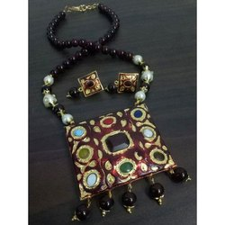 Brass And Beads Designer Imitation Antique Necklaces Mala With Earrings Set, Box