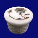 Decorative Round Marble Inlay Jewellery Box
