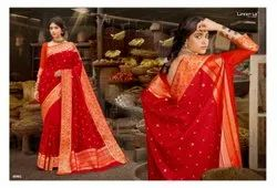 Party Wear Lifestyle Silk Fabric Designer Saree, 6 m (with blouse piece)