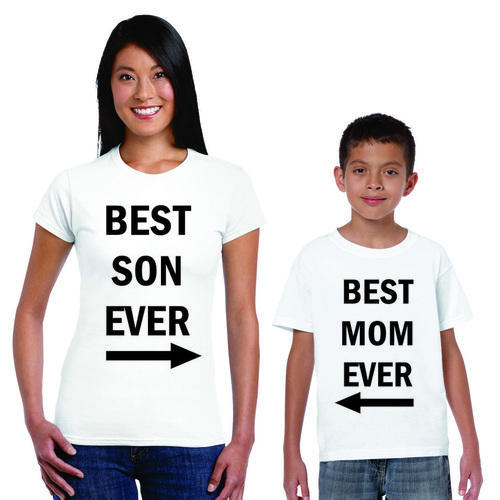e7769cf7931 White Printed Best Son And Mom T- Shirt