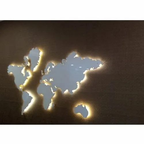 Led World Map.Acrylic Led World Map Rs 180 Inch Kp Printo Graphics Id