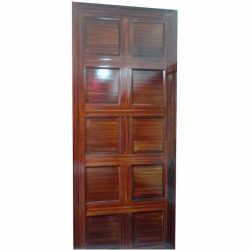 Wood Polished Grid Design Wooden Door