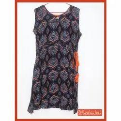 Vipulachal Printed Ladies Cotton Sleeveless Midi Dress, Size: S-XL