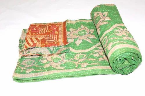 Indian Handmade Quilt Vintage Kantha Bedspread Throw.Cotton Blanket Ralli=Gudari