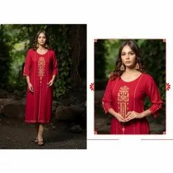 Ladies Handloom Cotton Embroidered Kurti