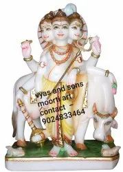 White Marble Dattatreya Sculpture With Cow