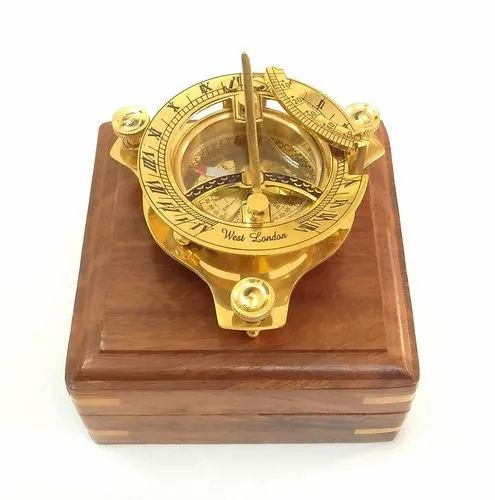 Antique Brass Maritime Stanley London Sundial Pocket Compass w Leather Case Gift