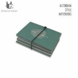 Green Accordion Style Journal/Notebook - Beige Spear Leaf