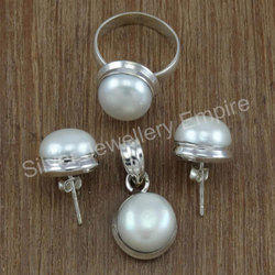 Classic Pearl Gemstone 925 Sterling Silver Fancy Jewelry Set