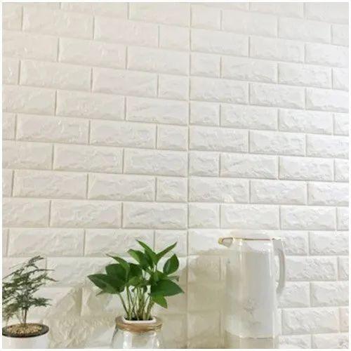 Plain Vertical 3d PE Foam Brick Wall Stickers, Size: 70*77