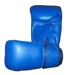 用PU制造的蓝色冲孔手套,用于拳击,包装类型:盒子