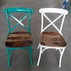 White and Green Powder Coated Metal Cross Back Chair, For Cafe, Size: 45*45*80cm