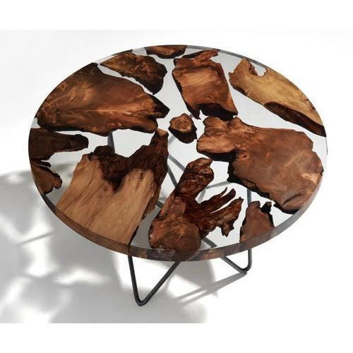 Brown Epoxy Resin And Wood Epoxy Designer Island Coffee Table Rs