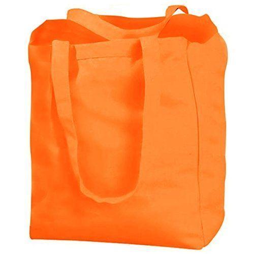 Orange Plain Cotton Drill Bag