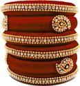 Maroon designer Silk Thread Bangles Set