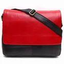 Red & Black Mb02 Women Plain Pure Leather Shoulder Messenger Bag
