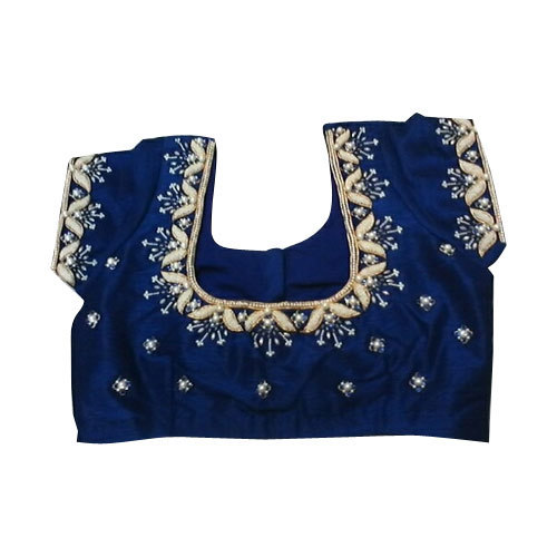 542770b7472b2 Half Sleeve Zardosi Work Silk Saree Blouses