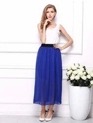 Royal Blue Full Length Chiffon Skirt