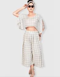 Staycation Luxe Viscose Co-Ord Set With Crop Top And Palazzo Vilv0500c17