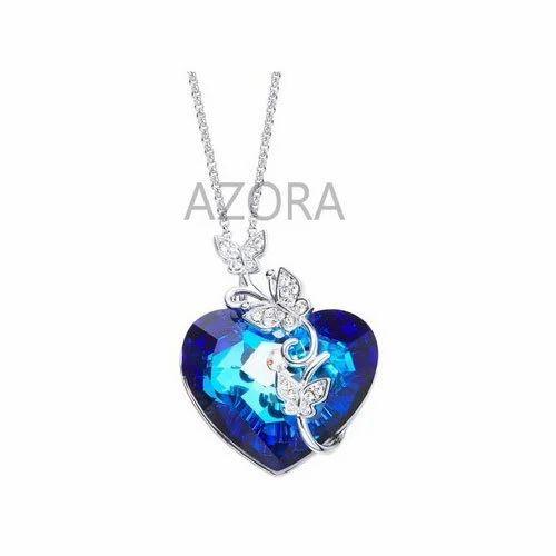 Blue women designer heart shape pendant necklace rs 2499 piece blue women designer heart shape pendant necklace aloadofball Image collections