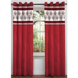 Red Polyester Patchwork Readymade Window Curtain