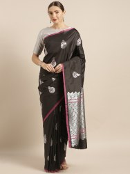 Kesari Soft Banarasi Silk Saree, All Over Zari Work And Mina Work