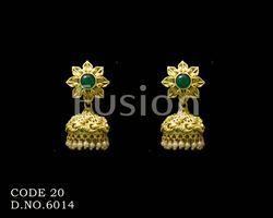 Traditional Matt Polish Antique Jhumka Earrings